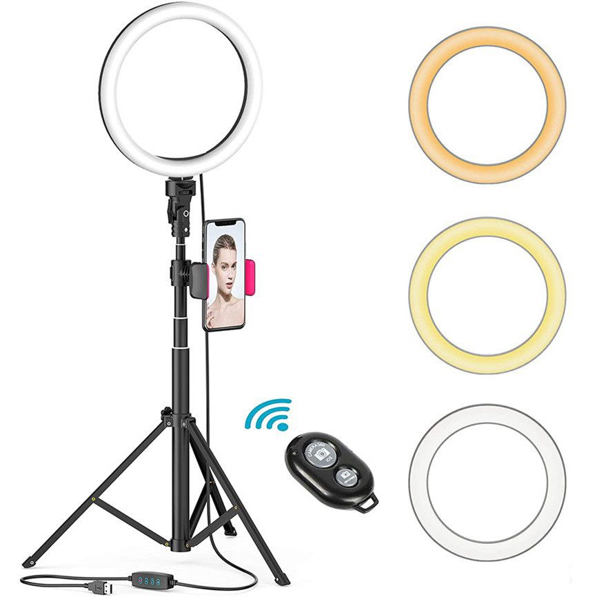 8 Polegada selfie anel de luz com 51 Polegada tripé suporte do telefone controle remoto para transmissão ao vivo youtube vídeo diamable iluminação