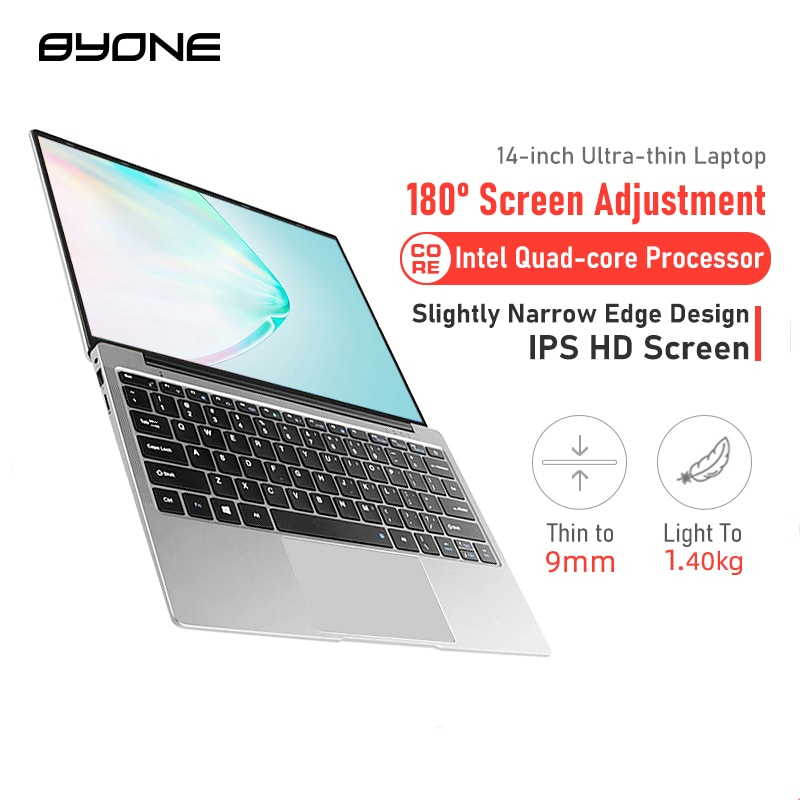 BYONE 14.1 Inch Laptop 8GB RAM128G 256G SSD Intel Celeron J3455 DDR4 Windows 10 LaptopThin Notebook1920*1080 IPS Computer