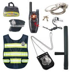 8 pçs/set Polícia Finge Cosplay Outfit Set Brinquedos Para Crianças Dramatização Policial Oficial de Polícia Simulação Play Boy Crianças Jogo Brinquedo