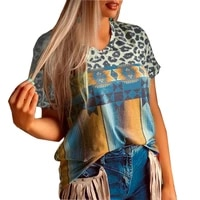 summer new 2021 women vintage ethnic leopard patchwork loose t shirt ladies casual v neck short sleeve loose t shirts