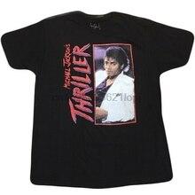 Camiseta negra THRILLER MICHAEL JACKSON para hombre, camiseta MJ de álbum de música POP de los años 80