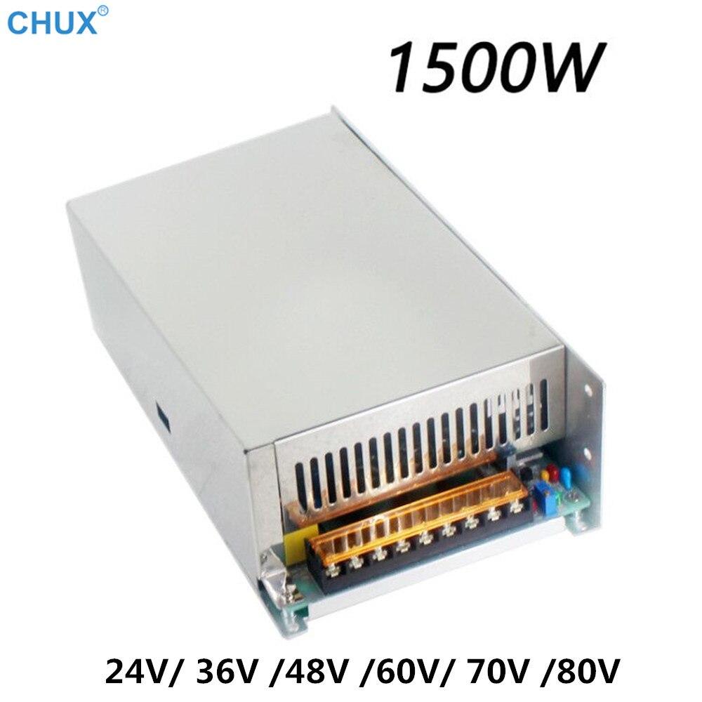 Fuente de alimentación conmutada CHUX, 1500w, 24v, 36v, 48v, 60v, 70v, 80v, salida única, ac dc 110V o 220V, para tira de transformador LED SMPS