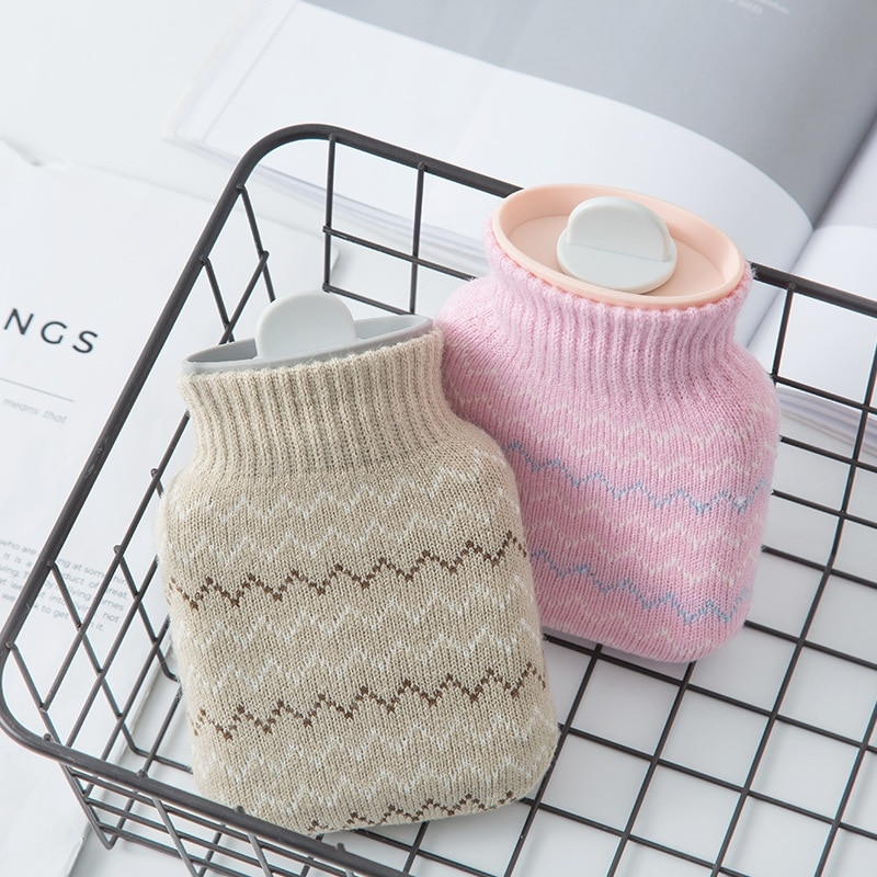 Mini botella de agua caliente de mano tejida Linda Mini botellas de agua caliente calentador de mano portátil para niñas pies de bolsillo de agua caliente bolsas