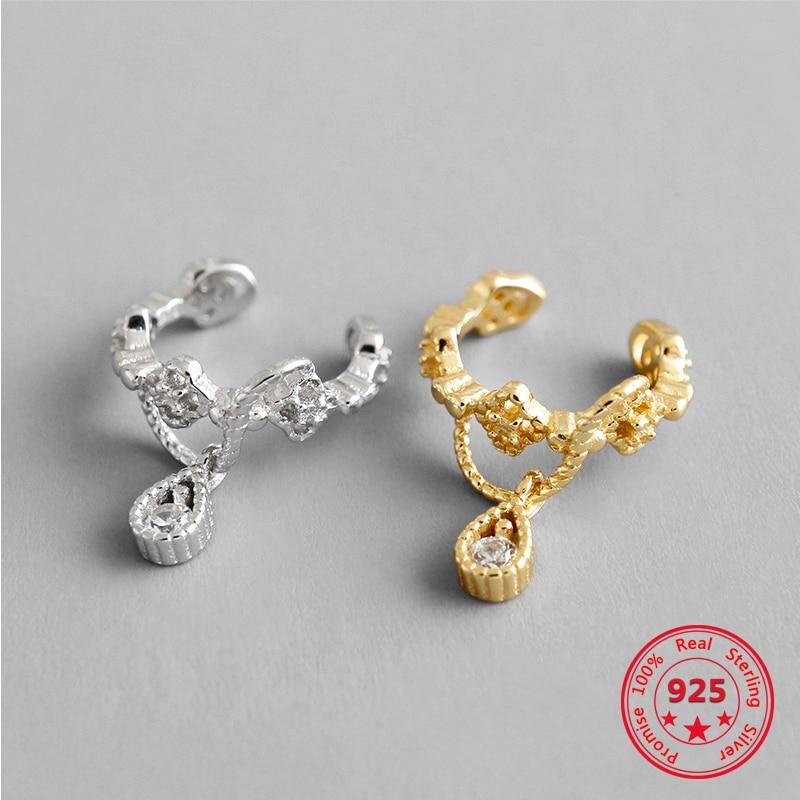 High Quality Deliate Woman Girl Hoop Leaves Earring 100% 925 Pure Silver Teardrop CZ Charm Clip Earrings Wholesale