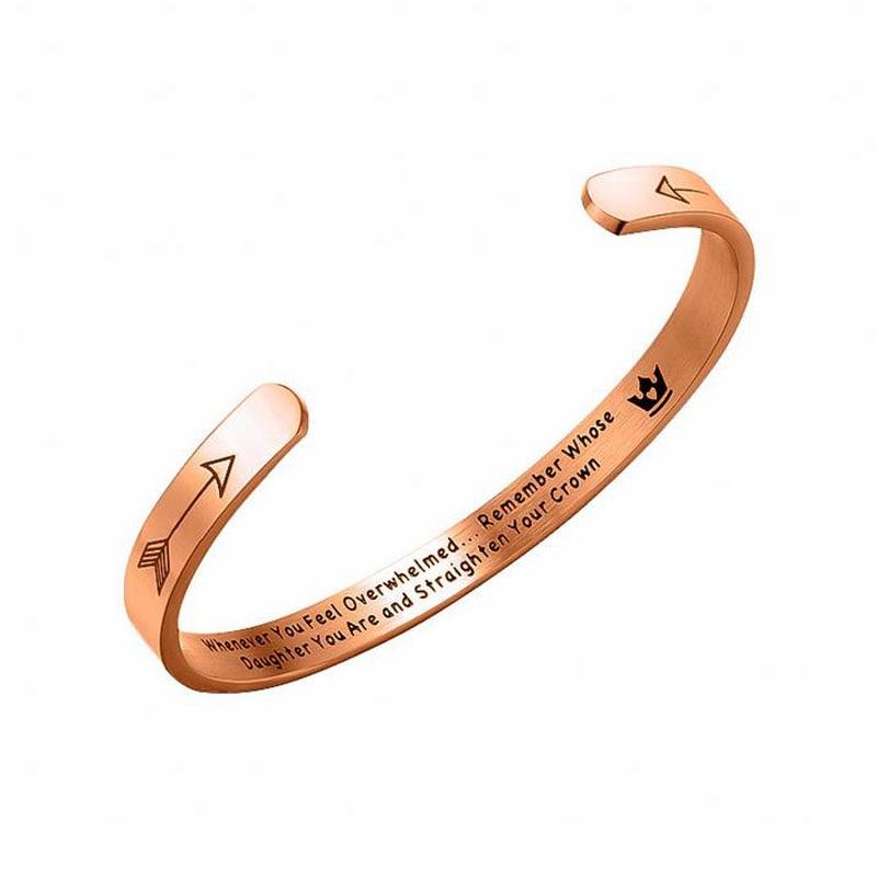 Regalo de graduación de cumpleaños para la pulsera de la hija brazalete cuando se sienta abrochada directamente su corona Mantra pulsera