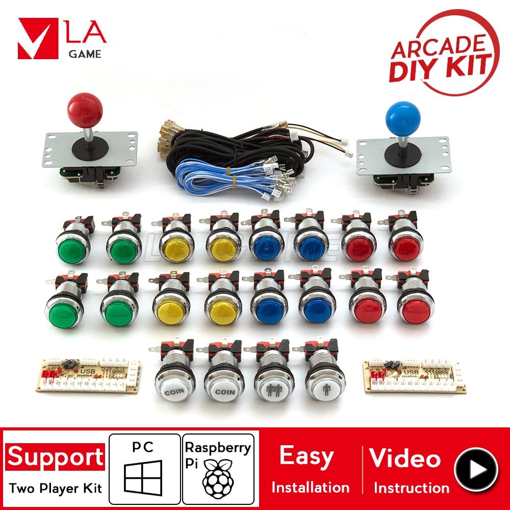 2 player arcade kit placa zero delay usb to PC Rasberry PI arcade machine joystick 24mm chorme plated led push button