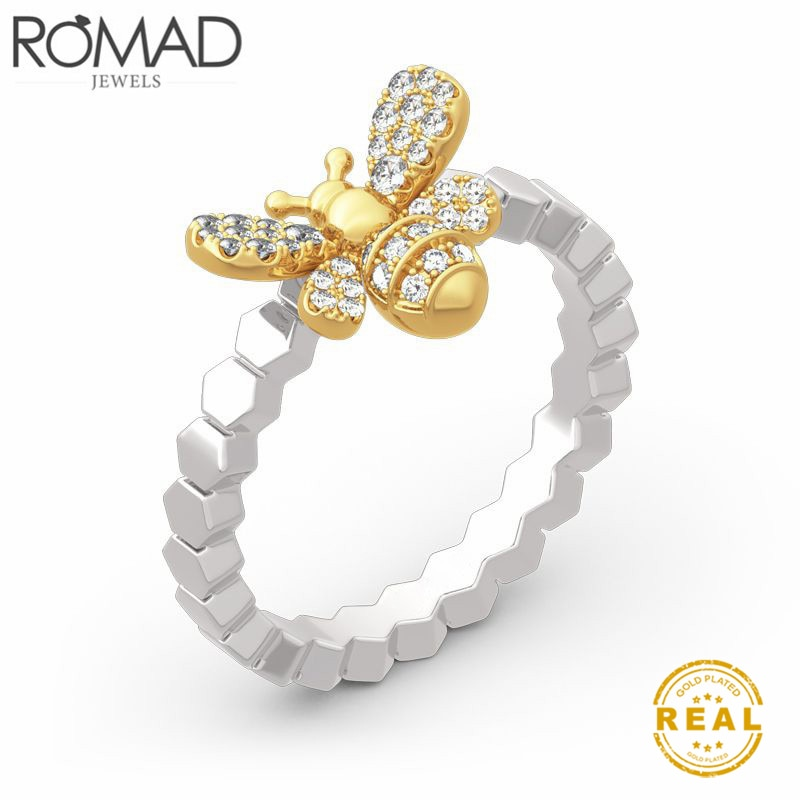 ROMAD Cute Womens Little Bee anillos femeninos elegantes delicados insectos dedo anillos joyería de boda femenina martillado banda apilamiento anillos