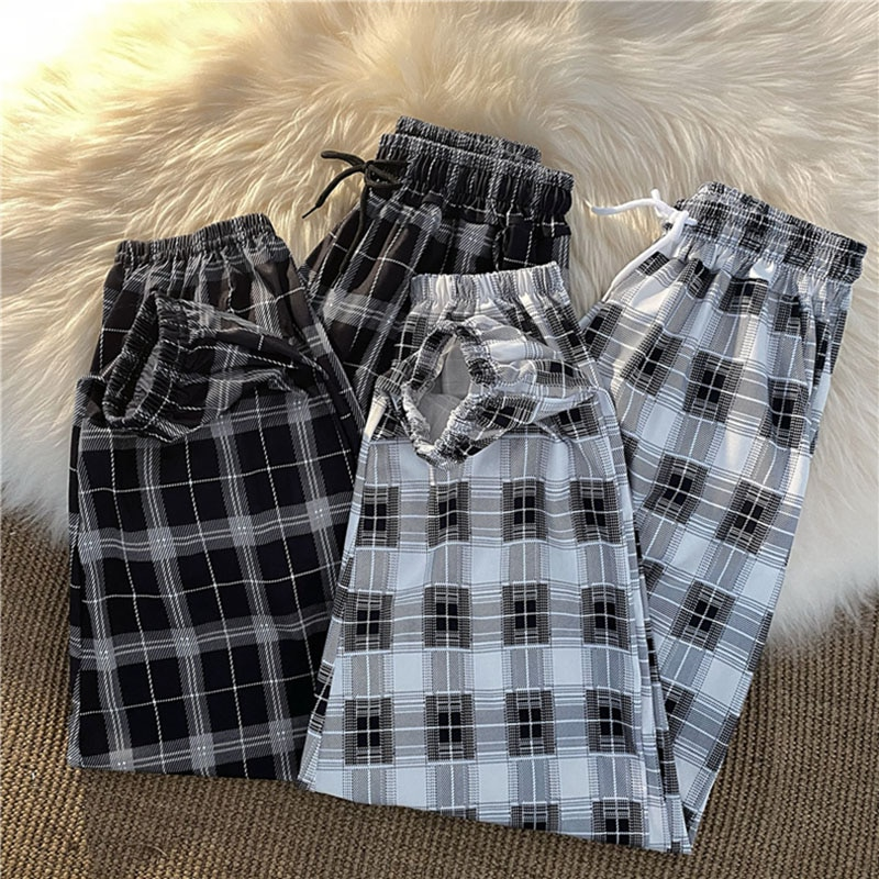 Summer net red super fire plaid pants female Korean version of the cool girl handsome fried street elastic waist casual sports f