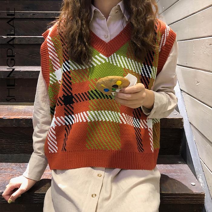 SHENGPALAE 2020 V Collar sin mangas de punto mujeres Tops 3 colores Patchwork Plaid suelta gran talla coreana mujer chaleco FU054