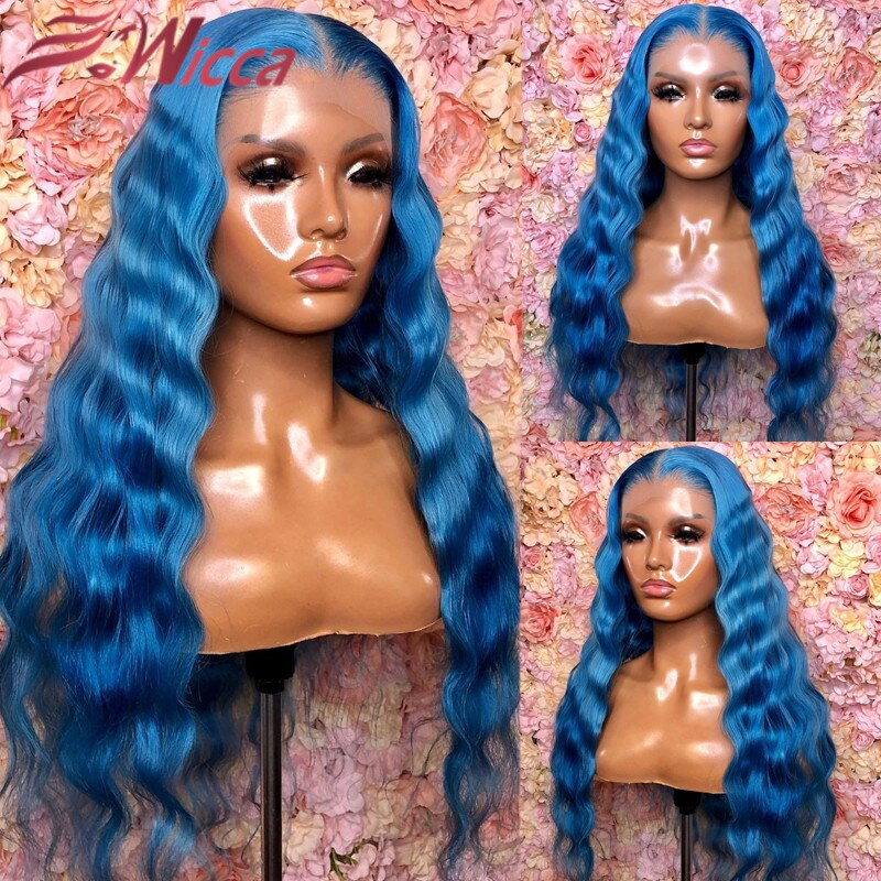 Brazilian Deep Wave Frontal Wig Remy Glueless 613 Blonde 13x4 Lace Front Wig Light Blue Human Hair Transparent Lace For Women