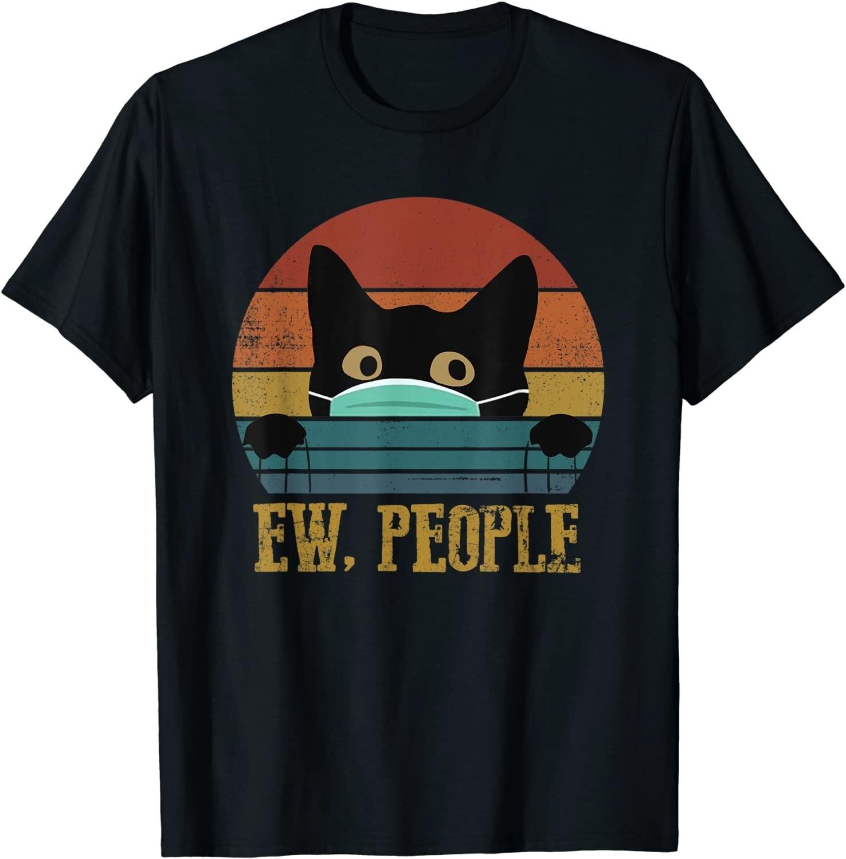 Camiseta con estampado de gato negro para hombre de ropa divertida de...