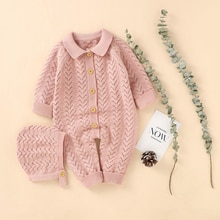 Winter Knitted Baby Pants Long Sleeve Boys' And Girls' Jumpsuit Cotton Autumn Knitted Newborn Childr