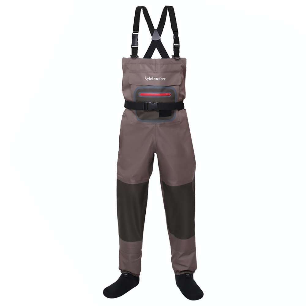 high jump ultra thin 0 34mm siamese fishing waders waterproof 700d nylon pvc breathable chest height pocket belt fishing overall Brown Breathable Lightweight Fly Fishing Chest Waders Stocking Foot Wader for Men Women