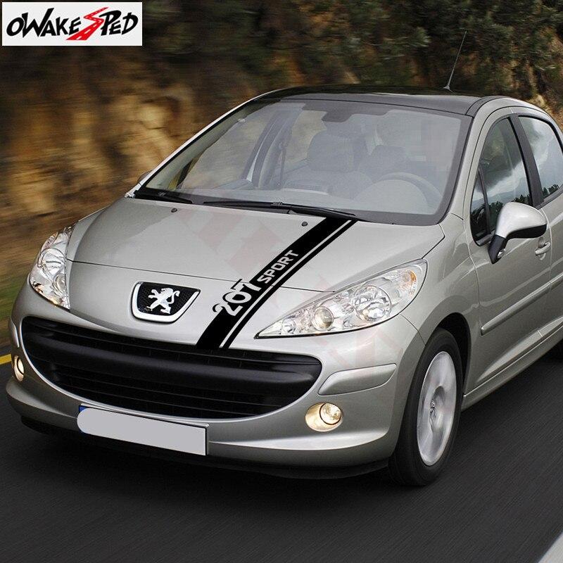 Para Peugeot 207 capucha capó rayas pegatinas coche deportivo de estilismo motor protectores de decoración vinilo calcomanías Auto cuerpo calcomanías de vinilo
