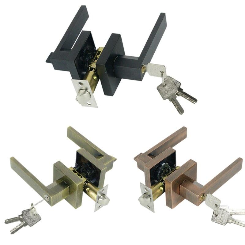 2 قطعة مقبض الباب مقبض الباب قفل مربع قناة الخصوصية قناع الداخلية غرفة نوم الحمام ثلاثة بار كروية قفل