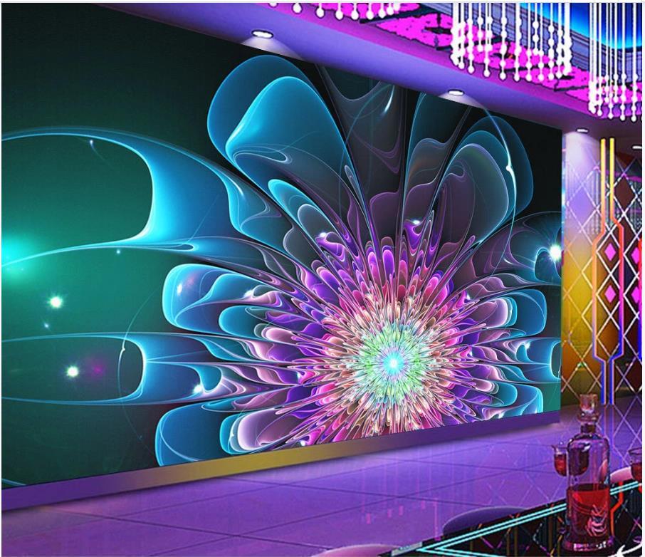 Papel tapiz de foto personalizado murales 3d fondos de pantalla colorido club nocturno flor mural bar KTV decoración papeles de pared de fondo