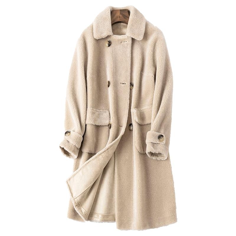 Chaqueta de lana de 100% para Mujer, Abrigo de invierno Real, ropa...