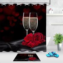 2 pièces saint valentin douche rideaux ensemble en forme de coeur Rose rouge Bokeh imperméable Polyester tissu salle de bain rideau avec paillasson