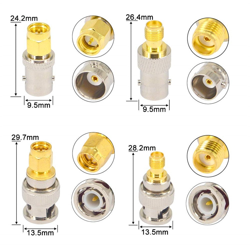 BNC To SMA Connectors Type Male Female RF Connector Adapter Test Converter Kit Transmission Cables SMA To BNC connector