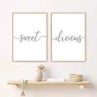 Minimaliste noir blanc doux reves citations toile peinture pepiniere affiches et impressions mur Art photos pour chambre decor a la maison