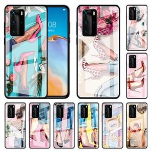 High Heeled Shoes Girl Women Glass Case For Huawei P30 Pro P40 Lite P20 P Smart 2019 Honor 9X 8X 20 Y6 Y7 Y9 2019 Capa Phone Cas