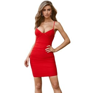 Spaghetti Strap Satin Dress Women Sexy Backless Bandage Bodycon Party Dress Stretch Short Club Dress