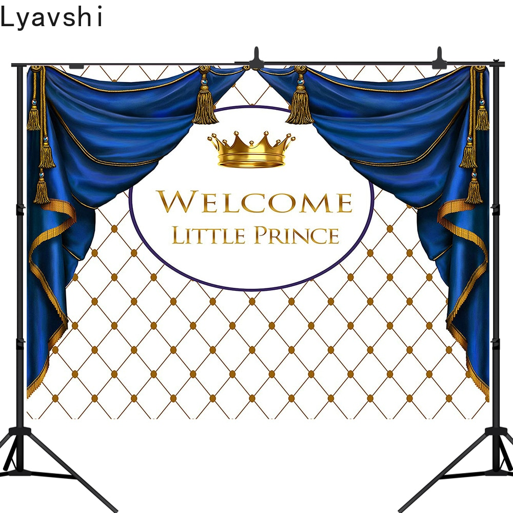 Lyavshi little prince fotografía de fondo corona real cumpleaños fiesta telón de fondo sesión fotográfica accesorio para sesión de fotos personalizado