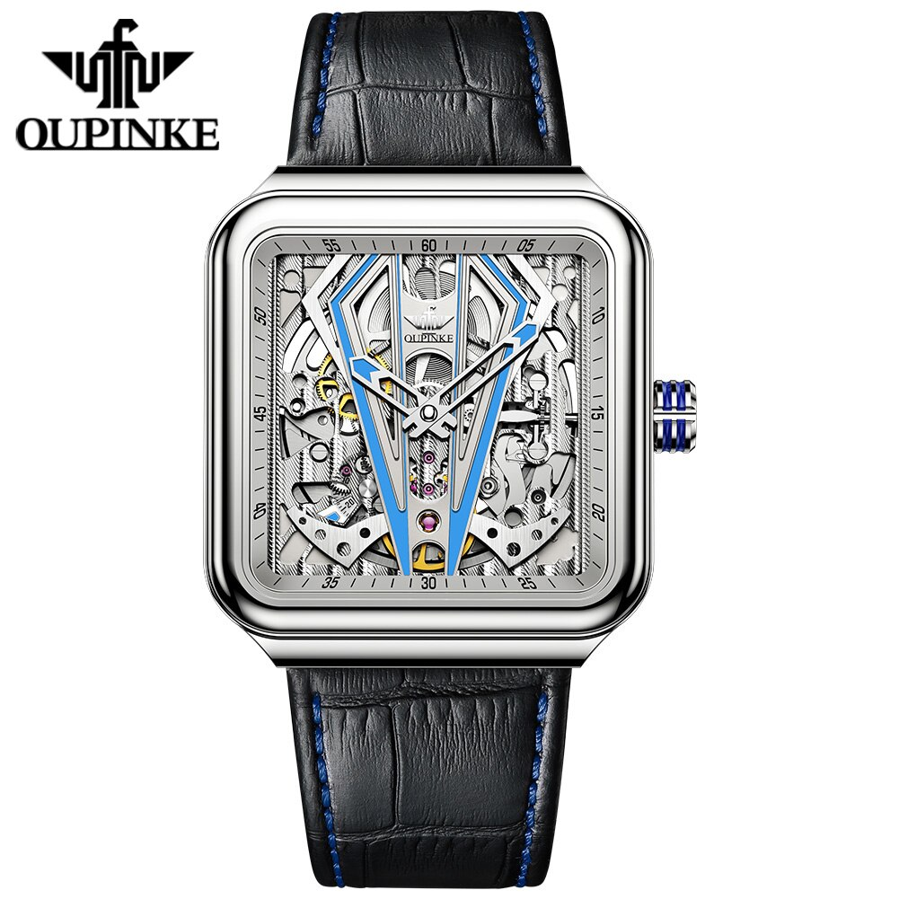 OUPINKE التلقائي ساعة الرجال ساحة الياقوت كريستال الهيكل العظمي الميكانيكية ساعة Steampunk جلدية شفافة ساعات يد رياضية