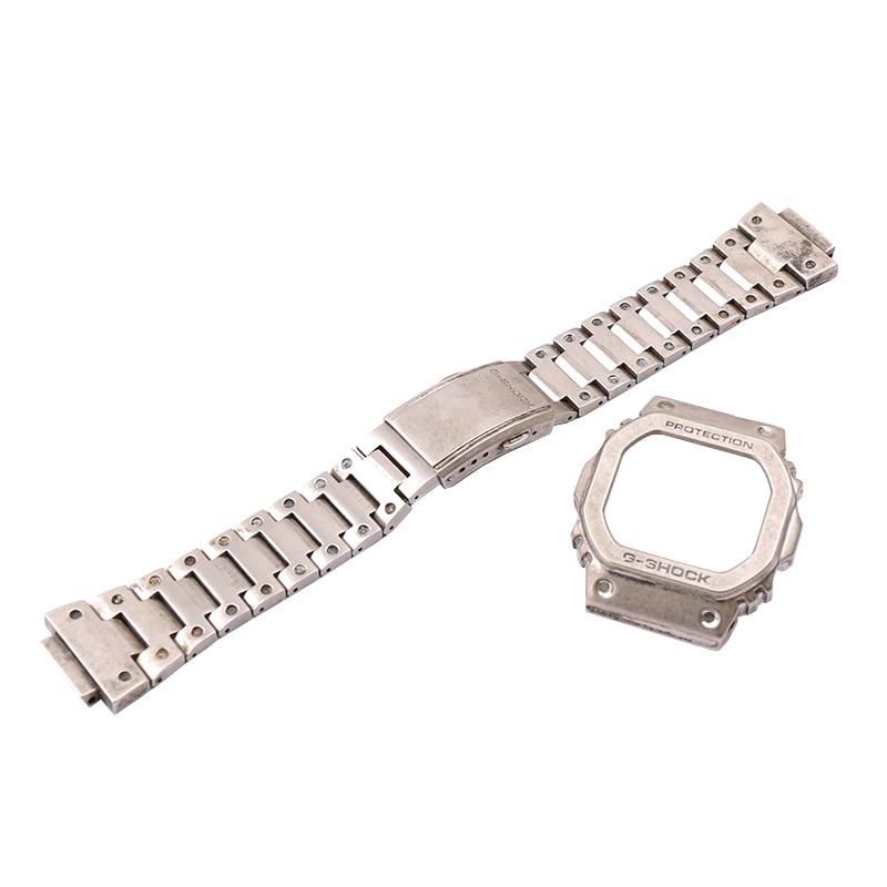 ساعة فضية خمر DW5600 GWM5610 GW5000 الفولاذ المقاوم للصدأ إطار معدني سوار الإكسسوار للرجال كاسيو G-SHOCK أشرطة ساعات يد