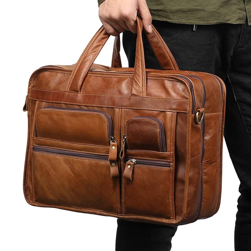 Men's Genuine Leather Briefcase Vintage Business Cow Leather Laptop Bag Messenger Handbag Shoulder Computer Documents Organizer