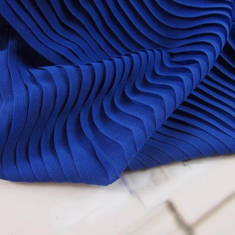 5 yardas azul gasa tela gasa verde oscura acordeón plisado tela para vestido plisado