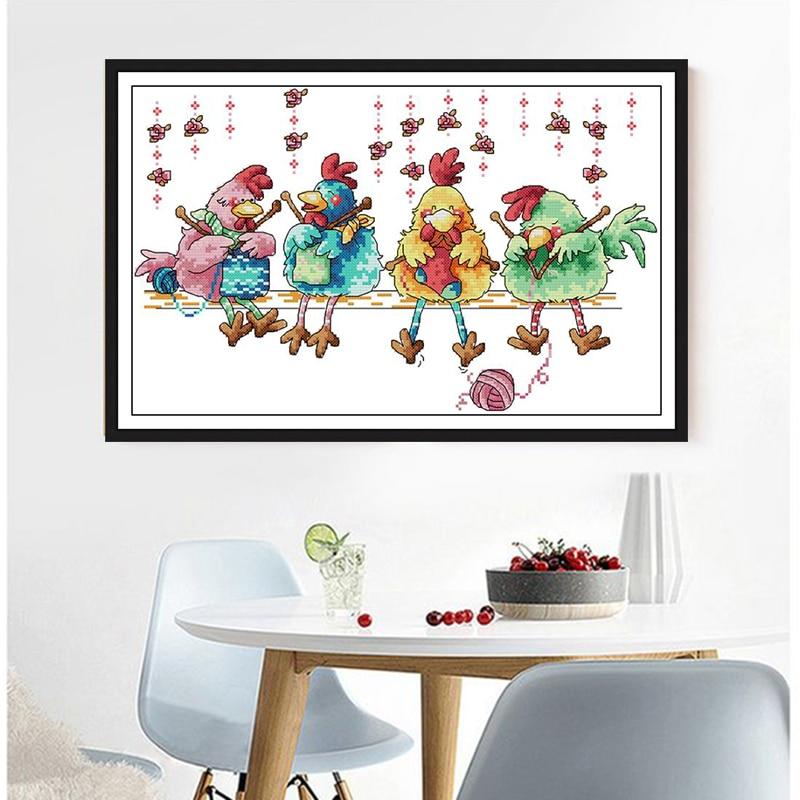 Alegria domingo pequenas galinhas tricô suéter kits de ponto cruz impresso chinês contado bordado needlework decorações para casa