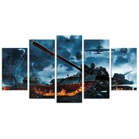 tanks and fighter jets war scene art canvas painting modern posters and prints wall pictures for living room decor