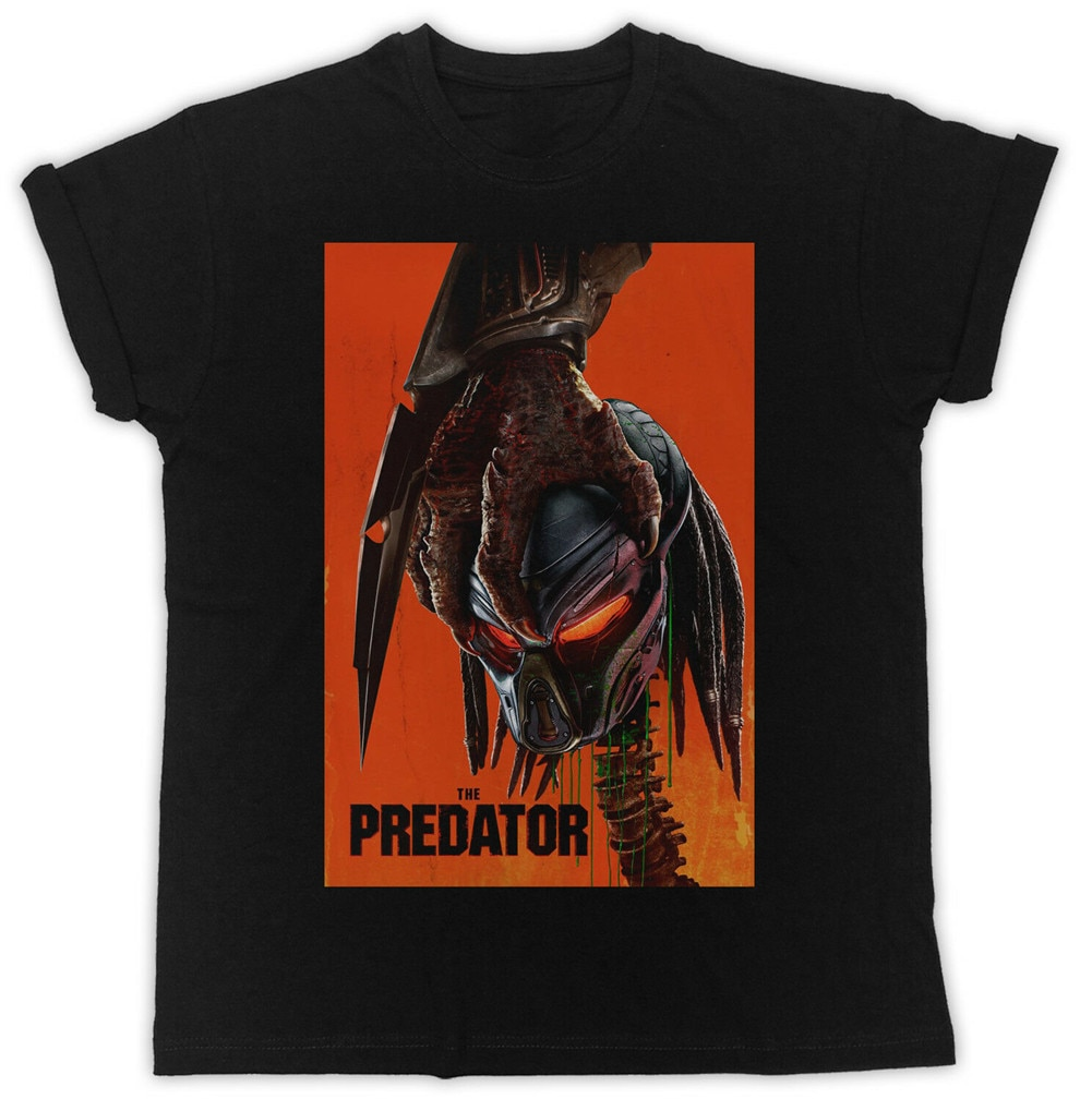 Cool la película de depredadores Poster camiseta Unisex negro Mens camiseta ropa de calle de moda camiseta