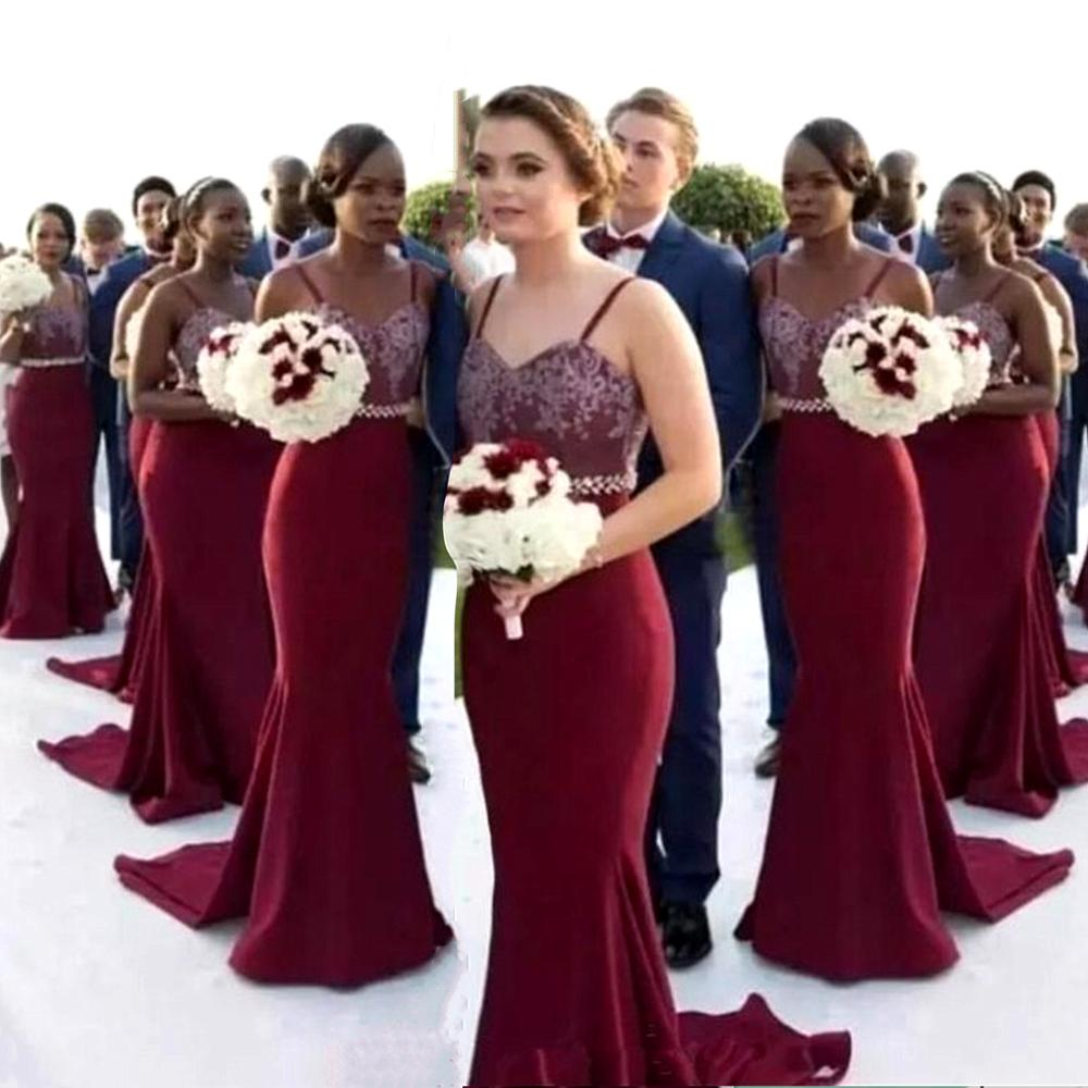 Spaghetti Straps Mermaid Bridesmaid Dresses 2020 Burgundy Satin Wedding Party Dress Vestidos De Fest