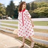 teen girl cute polka dot bow corduroy dress summer 2021 girls pure cotton loose dress navy short sleeve dress princess dress