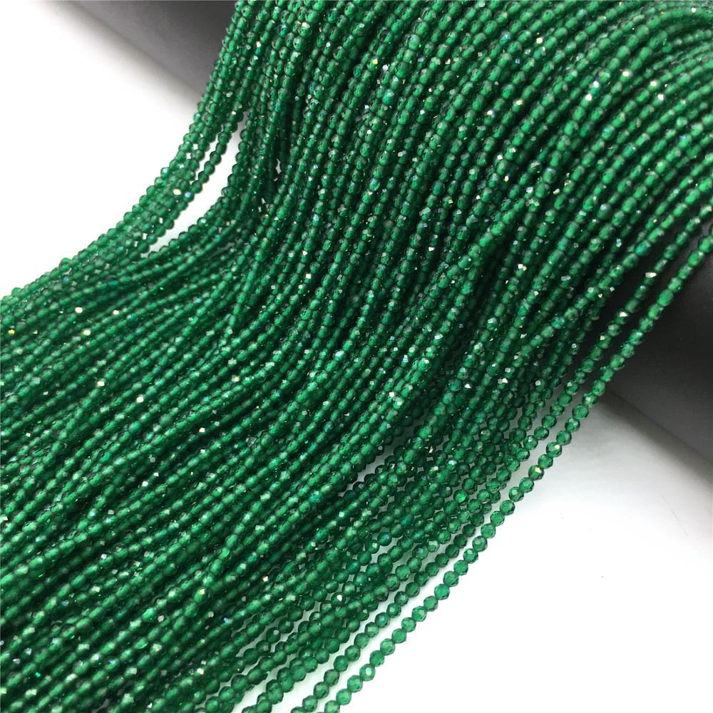 "Contas de esmeralda naturais pequenas redondas 2 3mm facetado grânulo de pedra solta para fazer jóias colar pulseira diy acessórios 15"""