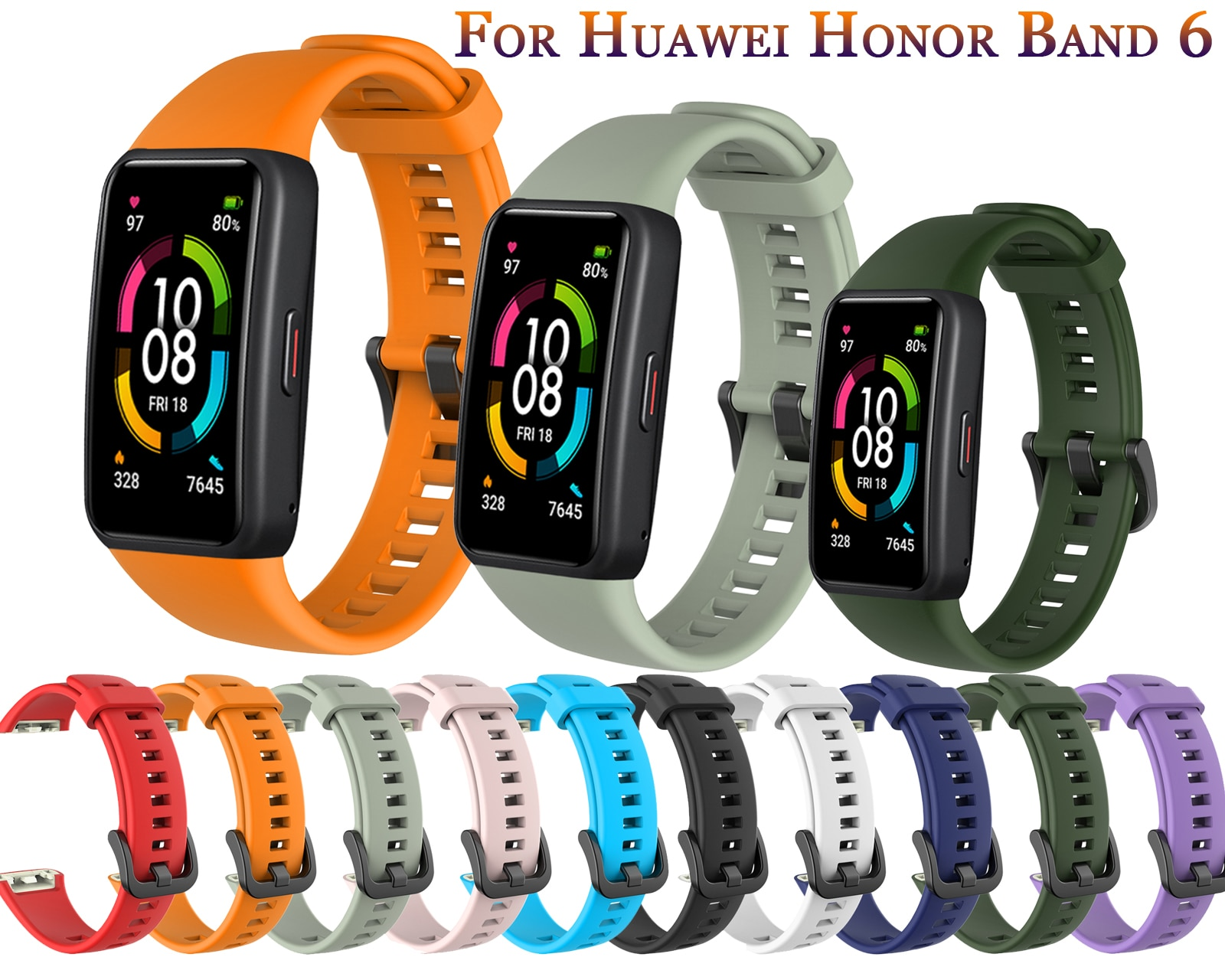 Correas de silicona para reloj inteligente Huawei Honor Band 6, repuesto colorido...