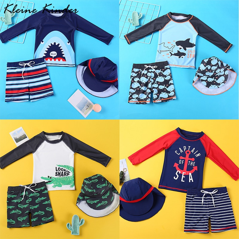Swimsuit Kids Swimwear and Swimming Trunks for a Boy Long Sleeve UV Protection Children's Bathing Su