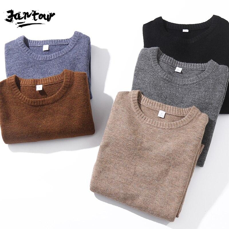 Осень-зима 2020, мужские повседневные вязаные свитера, пуловеры, Мужская Новая модная классическая Толстая теплая кофта с круглым вырезом, му...