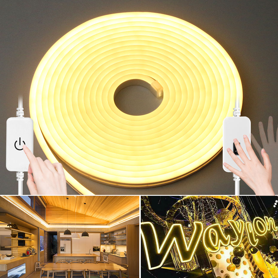 LED Neon Lights with Hand Sweep Sensor 1M 2M 3M 4M 5M Flexible Rope Tube Strip Light Dimmable For Home Decoration Lighting