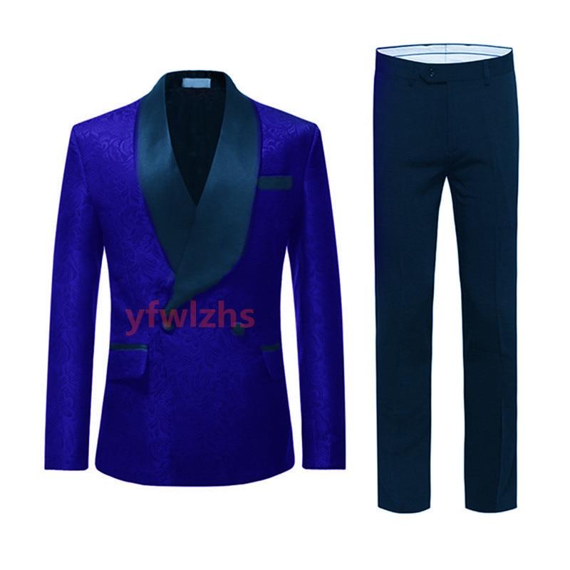 Handsome Embossing Groomsmen Shawl Lapel Groom Tuxedos  Men Suits Wedding/Prom/Dinner Best Blazer(Jacket+Pants+Tie) 146