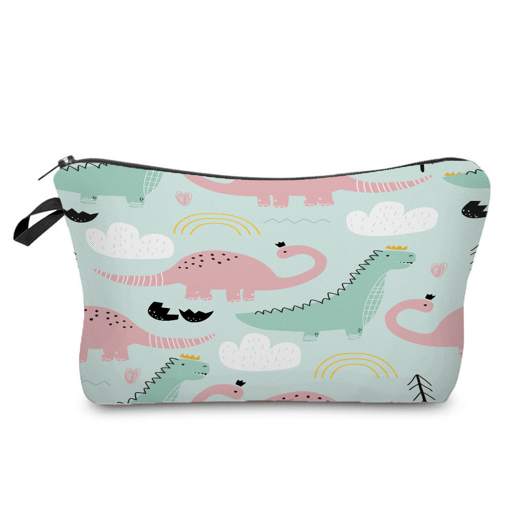 Kids Pretty Storage Bags Portable Women Makeup Bags Fashion Printing Dinosaur Cosmetics Organizer Ba