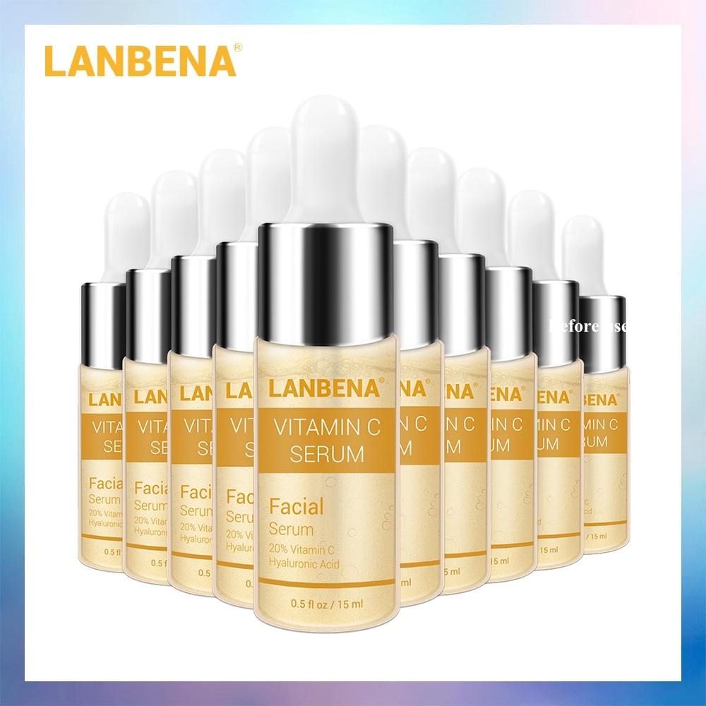 LANBENA с витамином C отбеливание Сыворотки Улитка Крем для лица с гиалуроновой кислотой, анти-старения для удаления веснушек на водной основе для осветляющая темные пятна 10 шт.