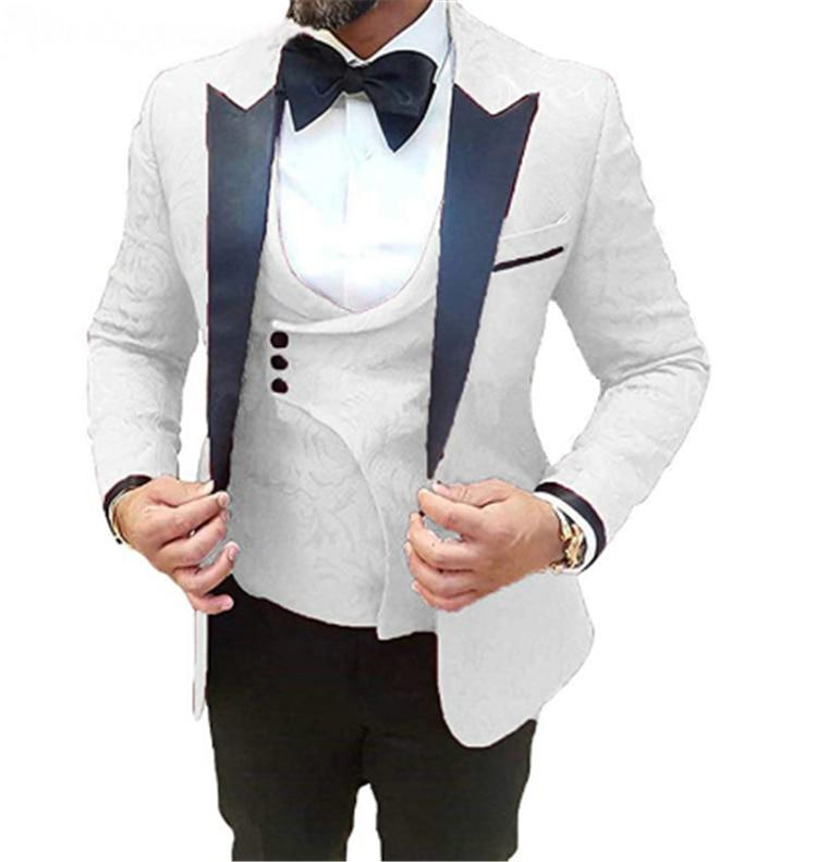 2020 جديد متعدد الألوان زهرة الرجال بدلة الزفاف العريس التلبيب البدلة العريس أفضل رجل سترة ثلاثة قطعة بدلة سهرة