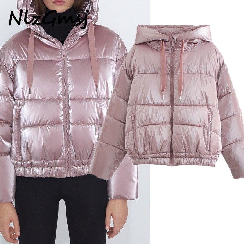 Nlzgmsj Za-معطف سميك دافئ للنساء ، سترة نسائية بغطاء للرأس ، موضة وردية ، معطف فضفاض قصير غير رسمي ، ملابس خارجية ، 2021