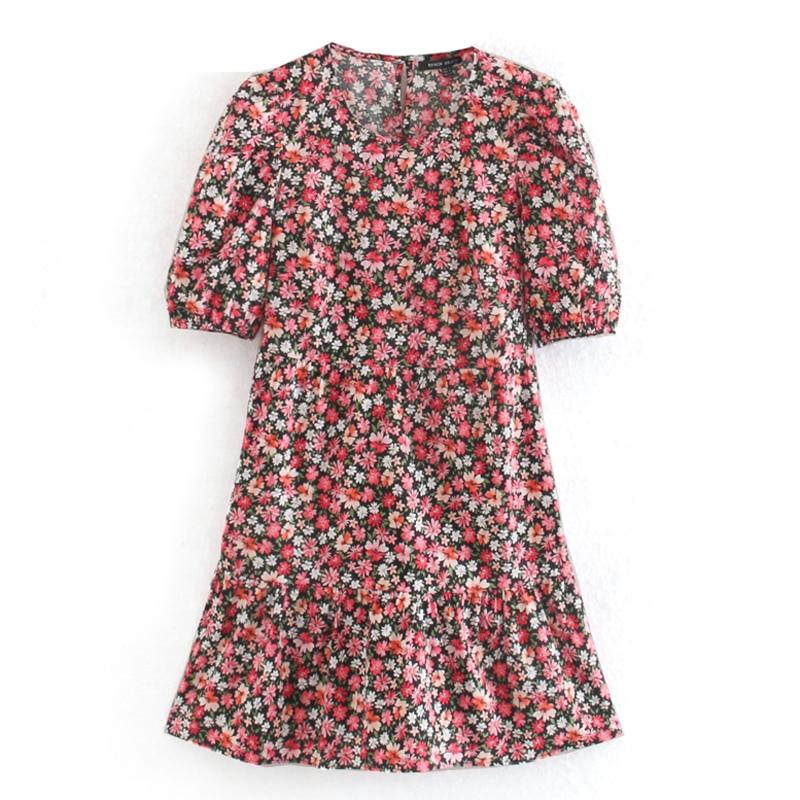 Elina Prairie Chic Loose O Neck Dresses Women Fashion Floral Printed Dress Women Elegant Puff Sleeve Dresses Female Ladies DG