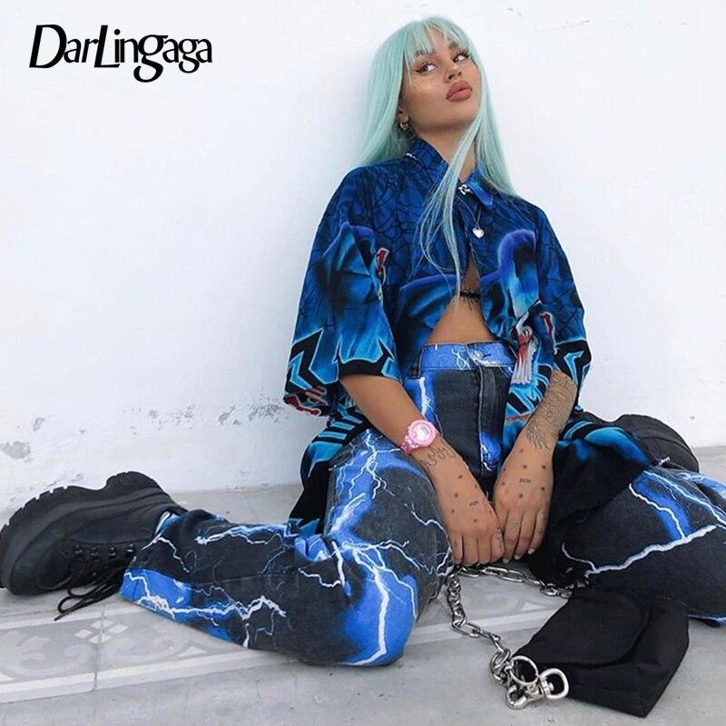 Darlingaga, ropa de calle, pantalones con estampado de rayos de carga, Pantalones rectos de mujer Tie Dye Hippie, pantalones holgados de cintura alta, pantalones para correr, moda