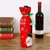 Nouvelles decorations de noel noel bouteille de vin rouge couvre sac lin vacances pere noel Champagne bouteille couverture decoration de la maison