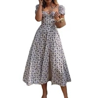 summer women%e2%80%99s casual puff sleeve dress fashion small floral lace up square collar split long dress